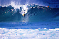 Body boarding at the north shore on Oahu