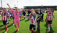 Lincoln City's Terry Hawkridge carries the Vanarama National League trophy round the pitch<br /> <br /> Photographer Chris Vaughan/CameraSport<br /> <br /> Vanarama National League - Lincoln City v Macclesfield Town - Saturday 22nd April 2017 - Sincil Bank - Lincoln<br /> <br /> World Copyright &copy; 2017 CameraSport. All rights reserved. 43 Linden Ave. Countesthorpe. Leicester. England. LE8 5PG - Tel: +44 (0) 116 277 4147 - admin@camerasport.com - www.camerasport.com