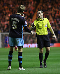 Glenn Loovens of Sheffield Wednesday disagreeing with referee David Coote - Sky Bet Championship - Middlesbrough vs Sheffield Wednesday - Riverside Stadium - Middlesbrough - England - 28th of December 2015 - Picture Jamie Tyerman/Sportimage