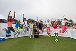 (L-R) Ricky Chan, Wu Zhoutong, Tenniel Chu, Natalie Gulbis, Danny Lau and 2 unidentified women at the 1st hole during the World Celebrity Pro-Am 2016 Mission Hills China Golf Tournament on 23 October 2016, in Haikou, China. Photo by Weixiang Lim / Power Sport Images