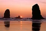 Cannon Beach with Haystack Rocks Oregon Coast