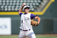 Winston-Salem Dash relief pitcher Mick VanVossen (15) in action against the Potomac Nationals at BB&T Ballpark on August 6, 2017 in Winston-Salem, North Carolina.  The Nationals defeated the Dash 4-3 in 10 innings.  (Brian Westerholt/Four Seam Images)