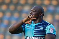 Adebayo Akinfenwa of Wycombe Wanderers celebrates his goal during the Sky Bet League 2 match between Wycombe Wanderers and Accrington Stanley at Adams Park, High Wycombe, England on 16 August 2016. Photo by Andy Rowland.