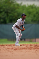GCL Tigers West second baseman Jeremiah Burks (32) during a Gulf Coast League game against the GCL Phillies West on July 27, 2019 at the Carpenter Complex in Clearwater, Florida.  (Mike Janes/Four Seam Images)