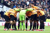 Wolverhampton Wanderers huddle during Tottenham Hotspur vs Wolverhampton Wanderers, Premier League Football at Tottenham Hotspur Stadium on 1st March 2020