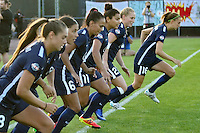 Piscataway, NJ - Saturday Aug. 27, 2016: Sky Blue starters, Erica Skroski, Taylor Lytle, Jill Loyden, Leah Galton, Sarah Killion prior to a regular season National Women's Soccer League (NWSL) match between Sky Blue FC and the Chicago Red Stars at Yurcak Field.