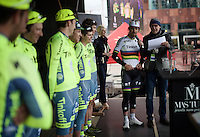 Peter Sagan (SVK/Tinkoff) introducing his teammates to the crowd<br /> <br /> 104th Scheldeprijs 2016