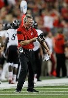 Cincinnati Bearcats head coach Tommy Tuberville reacts after a deep pass is called back in the third quarter of the college football game between the Ohio State Buckeyes and the Cincinnati Bearcats at Ohio Stadium in Columbus, Saturday afternoon, September 27, 2014. The Ohio State Buckeyes defeated the Cincinnati Bearcats 50 - 28. (The Columbus Dispatch / Eamon Queeney)