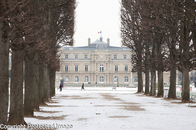 Luxembourg Palace in Winter Snow in Paris, France