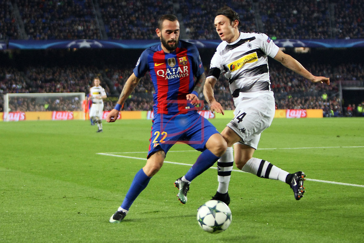 UEFA Champions League 2016/2017 - Matchday 6.<br /> FC Barcelona vs VfL Borussia Monchengladbach: 4-0.<br /> Aleix Vidal vs Nico Schulz.