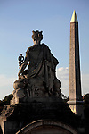 Statue representing French city in Concorde Square Place de la Concorde with Obelisk in the background. Paris. France