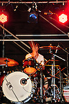 Kaohsiung, MegaPort Music Festival -- Drummer of the Taiwanese band HOTPINK in action.