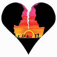 Couple inside breaking heart with happy family at sunset in background