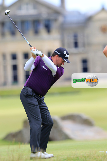 Graeme McDOWELL (NIR) tees off the 18th tee during Sunday's Round  of the 144th Open Championship, St Andrews Old Course, St Andrews, Fife, Scotland. 19/07/2015.<br /> Picture Eoin Clarke, www.golffile.ie