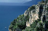Rocky cliffs on the Tyrrhenian Sea, Praino Village, Amalfi Coast, Italy.