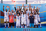 Citi All Stars (in white) are the winners of the Masters Tournament Cup Final, while Wallsend Boys Club (in green) are the runners-up, during the HKFC Citi Soccer Sevens 2017 on 28 May 2017 at the Hong Kong Football Club, Hong Kong, China. Photo by Marcio Rodrigo Machado / Power Sport Images