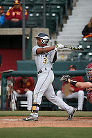 Clinton Arnold #3 of the Coppin State Eagles bats during a game against the Southern California Trojans at Dedeaux Field on February 18, 2017 in Los Angeles, California. Southern California defeated Coppin State, 22-2. (Larry Goren/Four Seam Images)