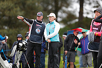 Clare Balding getting advice from her caddie during the Hero Pro-am at the Betfred British Masters, Hillside Golf Club, Lancashire, England. 08/05/2019.<br /> Picture David Kissman / Golffile.ie<br /> <br /> All photo usage must carry mandatory copyright credit (&copy; Golffile | David Kissman)