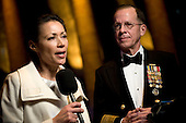 Washington, DC - January 20, 2009 -- United States Navy Admiral Mike Mullen, Chairman of the Joint Chiefs of Staff, right, is interviewed by NBC's Ann Curry, left,  at the Commander-in-Chiefs Ball at the National Building Museum, Washington, D.C., Tuesday, January 20, 2009. The ball, hosted by United States President Barack Obama honored Americas service members, families the fallen and wounded warriors..Credit: Chad J. McNeeley - DoD via CNP