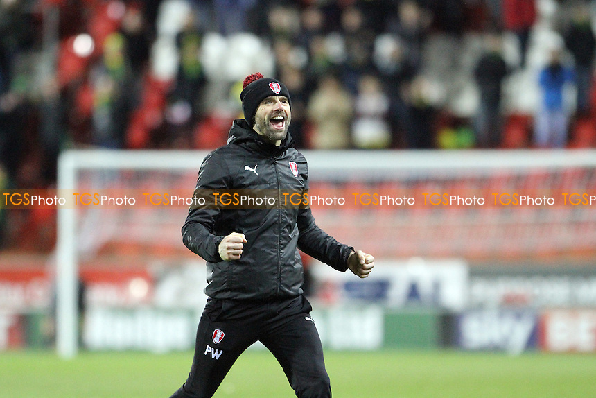 Rotherham United managerPaul Warne celebrates at full-time during Rotherham United vs Norwich City, Sky Bet EFL Championship Football at the New York Stadium on 14th January 2017