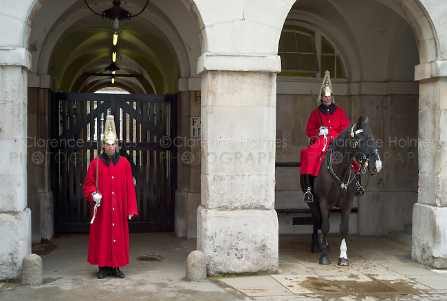 Horse guards outside Horse Guards Parade, London, England