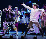 Jeremy Kushnier and Andrew Durand with cast during a special curtain call at Broadway's 'Head Over Heels' on July 12, 2018 at the Hudson Theatre in New York City.