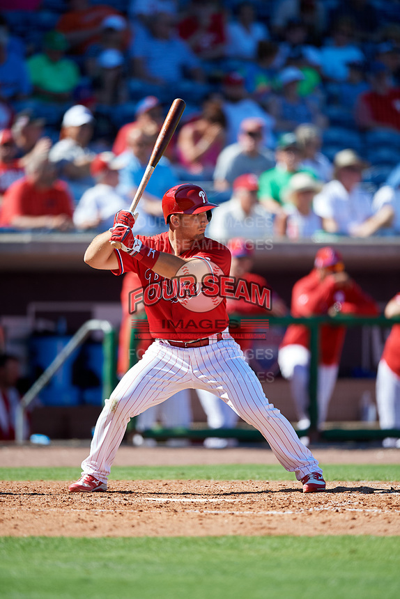 Philadelphia Phillies first baseman Austin Listi (76) at bat during a Grapefruit League Spring Training game against the Baltimore Orioles on February 28, 2019 at Spectrum Field in Clearwater, Florida.  Orioles tied the Phillies 5-5.  (Mike Janes/Four Seam Images)