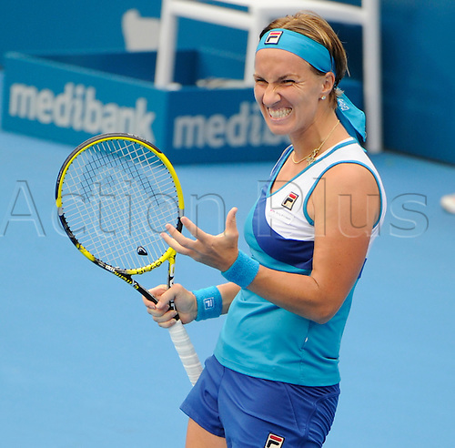11.01.2011 The Medibank International Tennis series from the Sydney Olympic Park. Svetlana Kuznetsova of Russia reacts after missing a point in her match against Samantha Stosur of Australia on day three of the 2011 Medibank International at the Sydney Olympic Park Tennis Centre in Sydney, Australia.