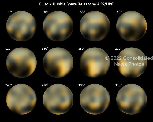 This is the most detailed view to date of the entire surface of the dwarf planet Pluto, as constructed from multiple NASA Hubble Space Telescope photographs taken from 2002 to 2003. NASA's New Horizons space probe, now halfway to Pluto, will get sharper images of Pluto when it is six months away from a close flyby in 2015.  Hubble's view isn't sharp enough to see craters or mountains, if they exist on the surface, but Hubble reveals a complex-looking and variegated world with white, dark-orange, and charcoal-black terrain. The overall color is believed to be a result of ultraviolet radiation from the distant Sun breaking up methane that is present on Pluto's surface, leaving behind a dark, molasses-colored, carbon-rich residue.  Pluto is so small and distant that the task of resolving the surface is as challenging as trying to see the markings on a soccer ball 40 miles away. The Hubble raw images are a few pixels wide. But through a technique called dithering, multiple, slightly offset pictures can be combined through computer-image processing to synthesize a higher-resolution view than could be seen in a single exposure. This series of pictures took four years and 20 computers operating continuously and simultaneously to accomplish.