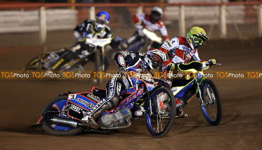 Heat 8: Davey Watt (red), Troy Batchelor (yellow), Mikkel Bech (blue) and Nicolai Klindt (white) - Lakeside Hammers vs Swindon Robins, Elite League Speedway at the Arena Essex Raceway, Pufleet - 28/03/14 - MANDATORY CREDIT: Rob Newell/TGSPHOTO - Self billing applies where appropriate - 0845 094 6026 - contact@tgsphoto.co.uk - NO UNPAID USE