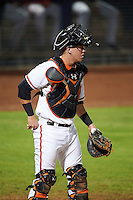 Peoria Javelinas catcher Chance Sisco (12) during an Arizona Fall League game against the Scottsdale Scorpions on October 24, 2015 at Peoria Stadium in Peoria, Arizona.  Peoria defeated Scottsdale 3-1.  (Mike Janes/Four Seam Images)
