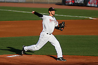 Wisconsin Timber Rattlers pitcher Jon Perrin (22) delivers a pitch during a Midwest League game against the Great Lakes Loons on April 26th, 2016 at Fox Cities Stadium in Appleton, Wisconsin.  Wisconsin defeated Great Lakes 4-3. (Brad Krause/Four Seam Images)