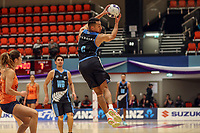 NZ Men's Kruze Tangira collects the ball during the Cadbury Netball Series match between NZ Men and All Stars at the Bruce Pullman Arena in Papakura, New Zealand on Friday, 28 June 2019. Photo: Dave Lintott / lintottphoto.co.nz
