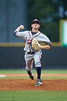Danville Braves relief pitcher Taylor Lewis (15) in action against the Burlington Royals at Burlington Athletic Park on July 12, 2015 in Burlington, North Carolina.  The Royals defeated the Braves 9-3. (Brian Westerholt/Four Seam Images)
