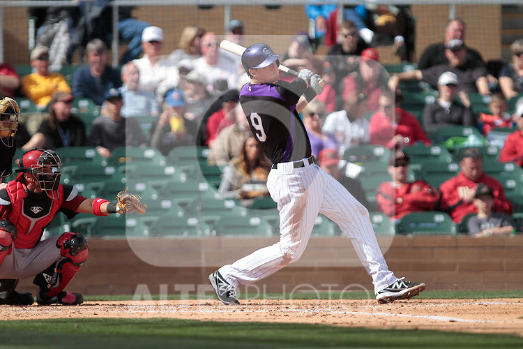 DJ LeMahieu  of Rockies  ,during   Colorado Rockies vs Arizona Diamondbacks, game of  Cactus league and Spring Trainig 2013..Salt River Fields stadium in Arizona. February 24, 2013