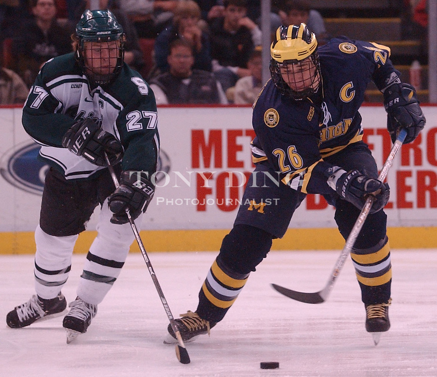 Michigan senior Jed Ortmeyer (26) during the Wolverine's 5-4 victory over Michigan State on Saturday, March 1, 2003 at Joe Louis Arena in Detroit, Mich (Tony Ding/Daily).