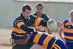 B. Clark tries to regain possession of the ball as he is tackled bySimione Saranavua. CMRFU Counties Power Premier Club Rugby game between Patumahoe & Pukekohe played at Patumahoe on April 12th, 2008..The halftime score was 10 all with Pukekohe going on to win 23 - 18.