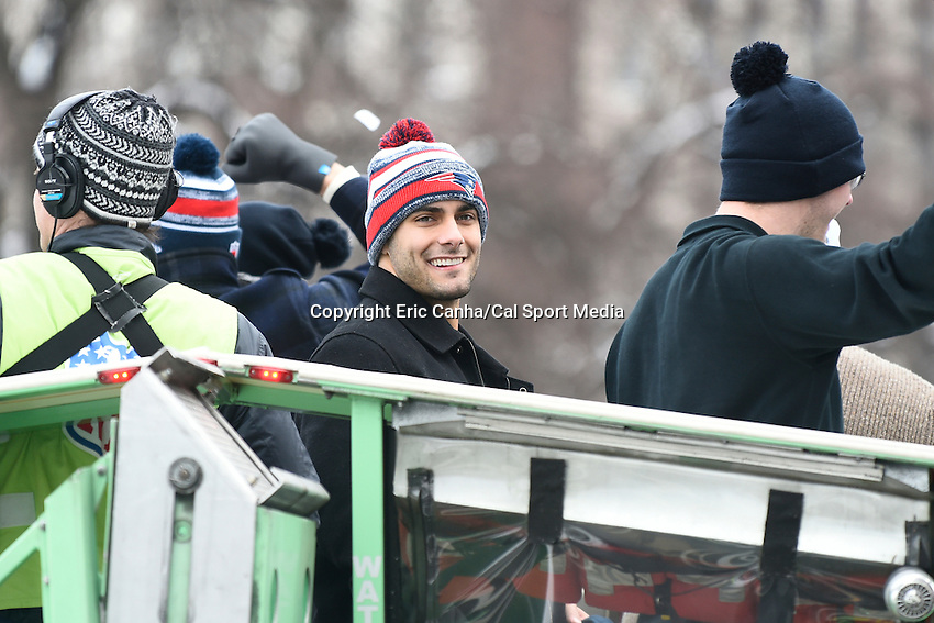 February 4, 2015 - Boston, Massachusetts, U.S. - New England Patriots quarterback Jimmy Garoppolo (10) rides in a duck boat during a parade held in Boston to celebrate the team's victory over the Seattle Seahawks in Super Bowl XLIX. Eric Canha/CSM