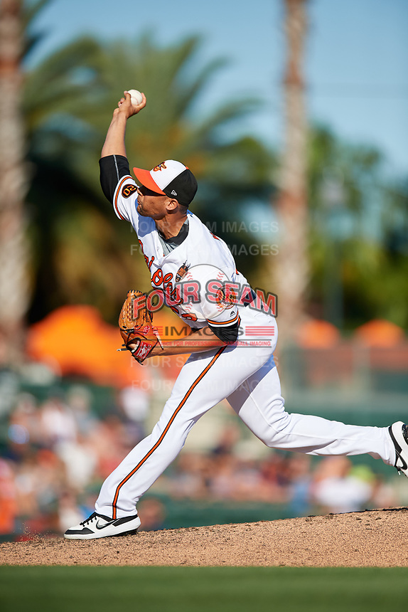 Baltimore Orioles relief pitcher Branden Kline (52) delivers a pitch during a Grapefruit League Spring Training game against the Detroit Tigers on March 3, 2019 at Ed Smith Stadium in Sarasota, Florida.  Baltimore defeated Detroit 7-5.  (Mike Janes/Four Seam Images)