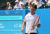 June 18th 2017, Nottingham, England; ATP Aegon Nottingham Open Tennis Tournament day 7 finals day;  Disappointment from Thomas Fabbiano of Italy as he misses a point in the men's final against Dudi Sela of Israel