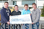 AGRICULTURAL: Young Agricultral Engineer Society which is based at The ITT North Campus, Tralee who presented a cheque of ?1,200 to (Beawre Prevent Sucide) on Monday at the ITT North Campus, L-r: Aiden Duffy, Alan Skehill (ITT Student), Donal Clifford (Beaware Prevent Sucide) and Damien Howard (ITT).