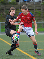 Action from the Trevor Rigby Cup (& Wynton Rufer Trophy) college football match between Wellington College (white and gold) and Hutt International Boys' School (blue red and white) at Wellington College Artificial Turf, Wellington, New Zealand on Saturday, 8 August 2015. Photo: Dave Lintott / lintottphoto.co.nz