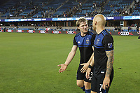 SAN JOSE, CA - JULY 06: Florian Jungwirth #23, Magnus Eriksson #7 during a Major League Soccer (MLS) match between the San Jose Earthquakes and Real Salt Lake on July 06, 2019 at Avaya Stadium in San Jose, California.