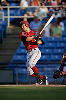 Altoona Curve right fielder Connor Joe (6) follows through on a swing during a game against the Binghamton Rumble Ponies on May 17, 2017 at NYSEG Stadium in Binghamton, New York.  Altoona defeated Binghamton 8-6.  (Mike Janes/Four Seam Images)