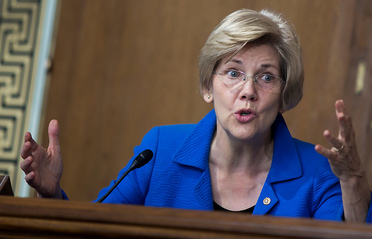 "UNITED STATES - JULY 29: Sen. Elizabeth Warren, D-Mass., proposes an amendment as the Senate Energy and Natural Resources Committee holds a markup of the ""Energy Policy Modernization Act of 2015"" on Capitol Hill in Washington, July 29, 2015. (Photo By Al Drago/CQ Roll Call)"