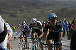 The peloton tackle the 7th sector of strade the climb of Monte Sante Maria during the 2014 Strade Bianche race over the white dusty gravel roads of Tuscany running 200km from San Gimignano to Siena, Italy. 8th March 2014.<br /> Picture: Eoin Clarke www.newsfile.ie