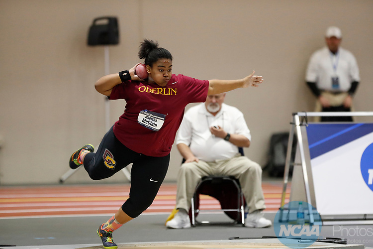 NAPERVILLE, IL - MARCH 11: Naeisha McClain of Oberlin College competes in the shot put at the Division III Men's and Women's Indoor Track and Field Championship held at the Res/Rec Center on the North Central College campus on March 11, 2017 in Naperville, Illinois. (Photo by Steve Woltmann/NCAA Photos via Getty Images)