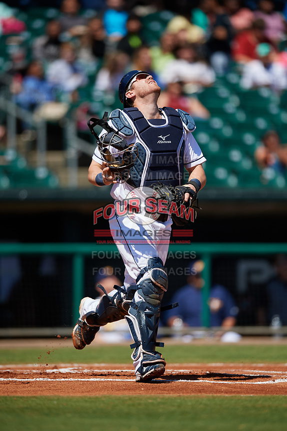 Montgomery Biscuits catcher Mac James (13) tracks a ball during a game against the Mississippi Braves on April 25, 2017 at Montgomery Riverwalk Stadium in Montgomery, Alabama.  Mississippi defeated Montgomery 3-2.  (Mike Janes/Four Seam Images)