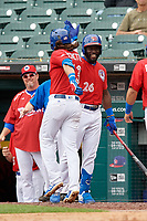 Buffalo Bisons Anthony Alford (26) congratulates Bo Bichette (13) after hitting a home run during an International League game against the Indianapolis Indians on June 20, 2019 at Sahlen Field in Buffalo, New York.  Buffalo defeated Indianapolis 11-8  (Mike Janes/Four Seam Images)