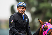 ARCADIA, CA - APRIL 02: Jockey Mike Smith at Santa Anita Park on April 02, 2018 in Arcadia, California. (Photo by Alex Evers/Eclipse Sportswire/Getty Images)